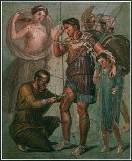 Aeneas was wounded while fighting the Rituli, a tribe in Italy. The goddess Venus cured him, and he returned to battle to fight with new vigor and emerge victorious. Here Venus watches as a physician attends to Aeneas