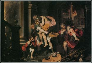 This painting by Federico Barocci shows Aeneas fleeing the city of Troy and carrying his father on his shoulders. One of Aeneas