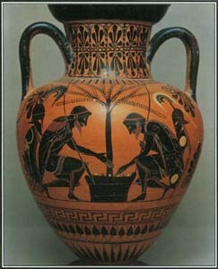As a warrior, Ajax was second only to Achilles, and the two men were close friends. A painting on a Greek jar shows Ajax and Achilles playing dice, perhaps during a lull between battles.