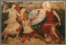 In this painting from the 400s B.C., two Amazons attack a male soldier. A warlike tribe of women, the Amazons were thought to be descendants of Ares, the Greek god of war.