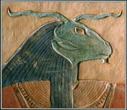 This painting of Amun, one of the creator gods in Egyptian mythology, decorates a tomb in Luxor, Egypt. Amun often appears as a human figure with a ram