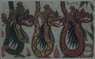 Some important animal characters in world mythology were imaginary combinations of other animals. For example, dragons such as the ones seen here were made up of features from horses, snakes, and birds.