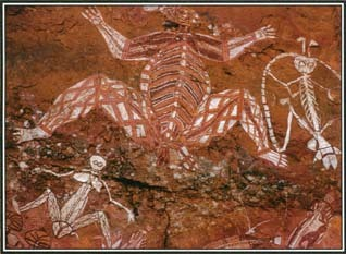These paintings from Nourlangie Rock in the Northern Territory of Australia are examples of X-ray art, a style practiced by the Aborigines of the region. The works show both the internal organs and the skeletons of the figures.