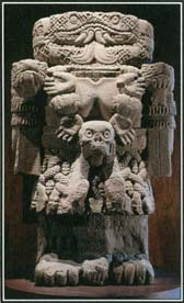 Coatlicue, the Aztec goddess of the earth, wore a skirt made out of snakes and a necklace of human hearts. She was usually portrayed with clawed hands and feet. This monumental statue of Coatlicue measures more than 8 feet tall.