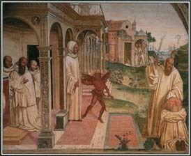 St. Benedict is best known for establishing the Benedictine Rule, a code of monastic living that is still followed. In this Italian painting of the 1500s, St. Benedict whips a man to drive out the demon that has possessed him.