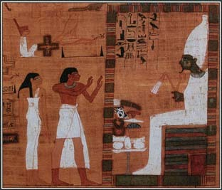 The Egyptians believed that their souls had to be judged by Osiris and many other gods before they could enter the afterlife. In this illustration from the Book of the Dead, souls stand before Osiris at the moment of judgment.