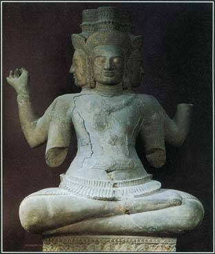 This Cambodian statue of the A.D. 900S shows Brahma with four faces and arms, a typical representation of the Hindu god. The influence of Hinduism spread to lands far beyond India, possibly carried by traders from southern India.