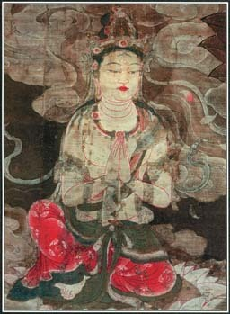 This early Japanese painting shows Amida, who rules a paradise known as the Pure Land. Some Japanese Buddhist groups worshiped Amida as the savior of humankind.