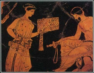 This Greek vase painting from the 400s B.C. illustrates an episode from the story of the Greek hero Odysseus. Returning home from the Trojan War, Odysseus was shipwrecked on an island where the nymph Calypso lived.