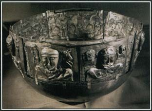 The Gundestrup cauldron is a silver vessel thought to have been made sometime around 100 B.C. A symbol of abundance and renewal, the cauldron contains many scenes and characters from Celtic mythology.