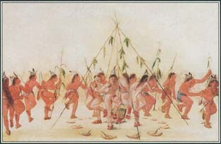This painting by George Caltin shows the Hidatsa people of the North American Plains celebrating the corn harvest with the Green Corn Dance. The ceremony, held in the middle of the summer, marks the beginning of the New Year.