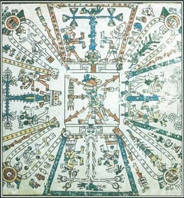 Aztec mythology tells of four creator gods, each associated with a direction and a color—Tezcatlipoca, the north and black; Quetzalcoatl, the west and white; Huitzilopochtli, the south and blue; and Xipe Totec, the east and red. This drawing shows Hueheuteotl, the god of fire, surrounded by the four directions.