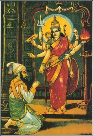 Devi, a major Hindu goddess, appears in many different forms. This color print shows a man worshiping Devi as Parvati, the beautiful and loving wife of Shiva.