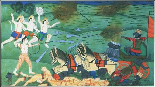 A group of Hindu demons, known as the Rakshasas, served the demon king Ravana. This painting shows a battle between the evil king and the hero Rama.