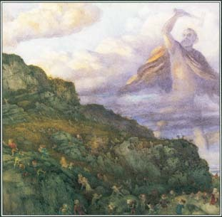 Dwarfs and elves appear in the myths and legends of many different cultures. In this painting, Thor, the Norse god of thunder, chases a group of dwarfs across a mountain.