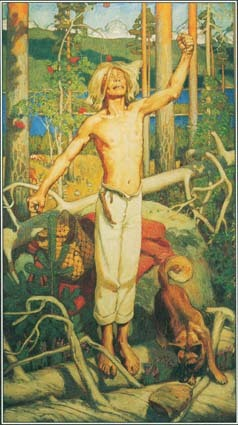 This painting, The Curse of Kullervo, by Akseli Gallén-Kallela, illustrates a story from the Finnish national epic known as the Kalevala.
