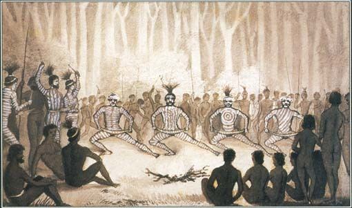Many cultures have myths and rituals involving fire. Here, Australian Aborigines with complex designs painted on their bodies dance in front of a fire.
