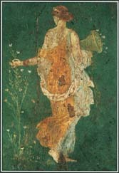 This Roman fresco of A.D. 79 shows the goddess Flora gathering flowers.