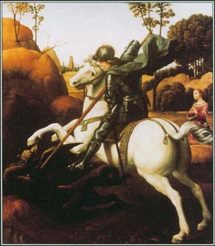This painting by Raphael shows St. George slaying a dragon that had been devouring a city