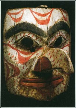 Many stories in Native American mythology describe giants with monstrous features. This wooden mask of a giant was made by the Tsimshian people of the northwest coast of North America.