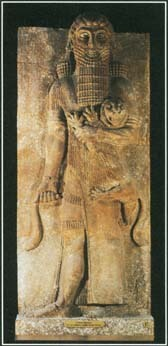 Gilgamesh was a Sumerian king and popular hero in the mythology of the ancient Near East. This carving shows the legendary figure.