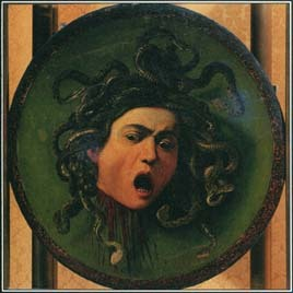 The three Gorgons were called Stheno, Euryale, and Medusa. Their gaze was so terrifying that anyone who looked at them turned to stone. Caravaggio painted this shield with the face of Medusa in the 1590s.