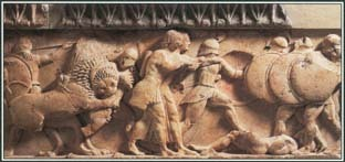 This frieze shows the Gigantomachy, a legendary battle in Greek mythology between the Giants and the Olympian gods. The gods won by killing the Giants with the help of Hercules.