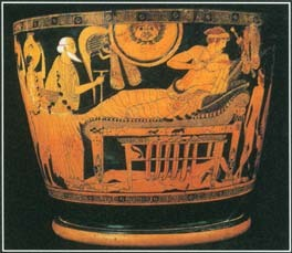 This vase dating from around 490 B.C. shows Priam, the king of Troy, asking Achilles to return the body of his dead son Hector.