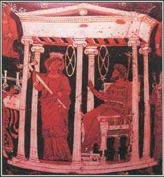 A well-known Greek myth tells of Hades kidnapping Persephone and taking her to the underworld. This vase painting shows Persephone and Hades as rulers of the underworld.
