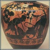 The scene on this vase shows Achilles fastening Hector