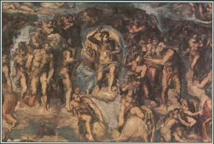 In many myths, hell appears as a place of punishment and suffering after death. This section of Michelangelo
