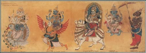 This illustration shows the three major Hindu gods—Brahma, the creator of life; Vishnu, the protector of life; and Shiva, the god of destruction.
