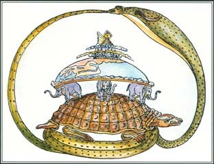 This drawing illustrates a Hindu creation myth. The tortoise supports elephants that hold up the world, and everything is encircled by the world serpent.