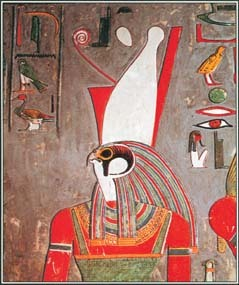 Horus, worshiped as a sun god and creator god by the ancient Egyptians, was often shown with the head of a bird.