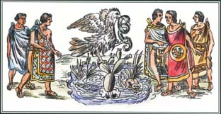 One legend about Huitzilopochtli, the Aztec god of war, concerns the origin of the city of Tenochtitlán. The god told the Aztecs to settle at a place where they found an eagle perched on a cactus.