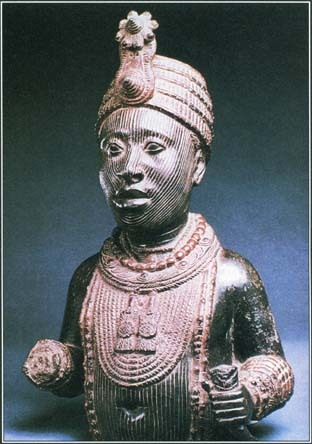 Ile-Ife, a holy city in Nigeria, appears in African mythology as the birthplace of creation. It is the home of the Oni, the spiritual leader of the Yoruba people, who is shown here.