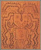 The figure in this Inca textile wears a decorative headdress with a sky dragon. Worship of the sun and sky played a central role in the mythology and religion of the Inca people.