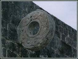 The Maya played a ball game in which teams competed to pass a rubber ball through a stone ring or hoop. Although the meaning of the game is not clear, the players may have represented the struggle between light and dark, and the ball may have symbolized the movement of stars through the heavens.