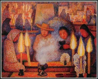 This painting by Diego Rivera shows people celebrating the Day of the Dead, November 2. During this Mexican holiday, families prepare altars with offerings for dead relatives. Deceased family members are believed to visit the world of the living on this day.