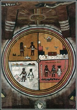 For many centuries, Native Americans have passed their myths from generation to generation though oral stones and artistic repesentations. This mural painting shows a scene from the Hopi people