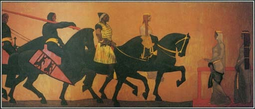 This painting shows an episode from the German poem the Nibelungenlied: King Etzel enters the city of Vienna on horseback.