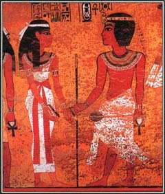 This painting from the tomb of King Tutankhamen in Thebes shows the Egyptian ruler with the sky goddess Nut.