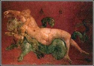 In Greek mythology, different types of nymphs were associated with particular parts of the natural world. Nereids, such as the one seen in this fresco painting, lived in both saltwater and freshwater.