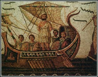 This mosaic from the A.D. 300S illustrates an episode from the Odyssey. Nearing an island, Odysseus and his men prepare to meet the Sirens, sea nymphs who lure sailors to death with beautiful singing.