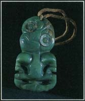 The carving on this hei tiki jade pendant is a fertility symbol in the mythology of the Maori people of New Zealand. The figure represents the first man, Tiki, in the stories of other Polynesians.