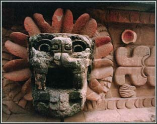 QuetzalcoatI, the Aztec god also known as the Feathered Serpent, appears on structures in the ancient city of Teotihuacán in Mexico.