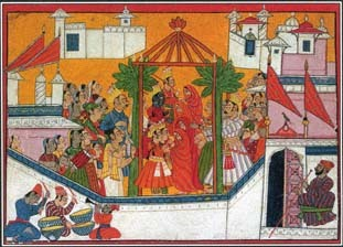 The Ramayana, a famous Hindu epic, tells of the life and adventures of a legendary hero called Rama. This painting from the 1700s illustrates the marriage of Rama and his brothers.