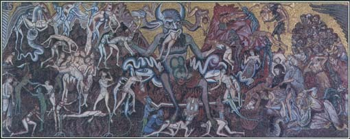 In many stories, Satan is portrayed as the ruler of evil spirits and the source of all wickedness. This mosaic shows Satan torturing souls in hell.