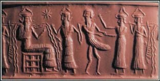 In a story from Mesopotamian mythology, Zu, a bird god from the underworld, stole the tablets that provided control over the universe. On this stone tablet from around 2200 B.C, Zu stands before the water god Ea for judgment.