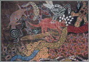 Snakes appear in the myths and legends of the Aborigines of Australia. This wall painting located near the town of Kuranda, Queensland, shows a snake among many different animals.